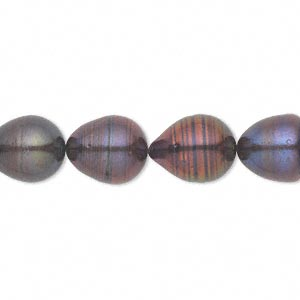 pearl, cultured freshwater (dyed), dark peacock, 9-10mm rice, d grade, mohs hardness 2-1/2 to 4. sold per 16-inch strand.