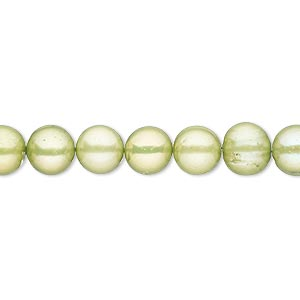 pearl, cultured freshwater (dyed), fern green, 7-8mm semi-round, c- grade, mohs hardness 2-1/2 to 4. sold per 16-inch strand.