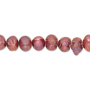 pearl, cultured freshwater (dyed), fruit punch, 6-7mm semi-round, d grade, mohs hardness 2-1/2 to 4. sold per 16-inch strand.