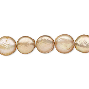 pearl, cultured freshwater (dyed), gold, 10-12mm flat round with 0.2-0.7mm hole, c- grade, mohs hardness 2-1/2 to 4. sold per 8-inch strand, approximately 15 beads.