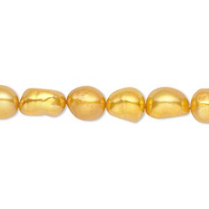pearl, cultured freshwater (dyed), gold, 8-9mm flat-sided rice, c- grade, mohs hardness 2-1/2 to 4. sold per 15-inch strand.