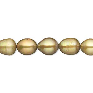 pearl, cultured freshwater (dyed), golden olive, 8mm rice, c- grade, mohs hardness 2-1/2 to 4. sold per 16-inch strand.