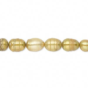 pearl, cultured freshwater (dyed), harvest gold, 6-7mm rice, d grade, mohs hardness 2-1/2 to 4. sold per 16-inch strand.