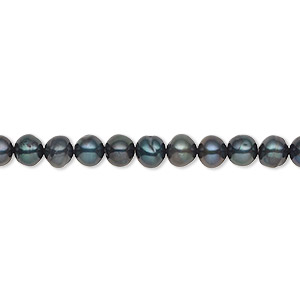 pearl, cultured freshwater (dyed), iris green, 4-5mm semi-round, c grade, mohs hardness 2-1/2 to 4. sold per 16-inch strand.