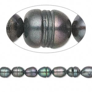 pearl, cultured freshwater (dyed), iris green, 5mm rice, c grade, mohs hardness 2-1/2 to 4. sold per 15-inch strand.