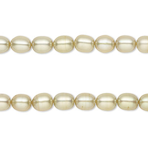 pearl, cultured freshwater (dyed), khaki, 5-6mm rice, c grade, mohs hardness 2-1/2 to 4. sold per pkg of (2) 16-inch strands.
