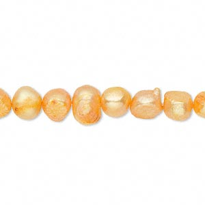 pearl, cultured freshwater (dyed), mango, 6-7mm flat-sided potato, d grade, mohs hardness 2-1/2 to 4. sold per 16-inch strand.