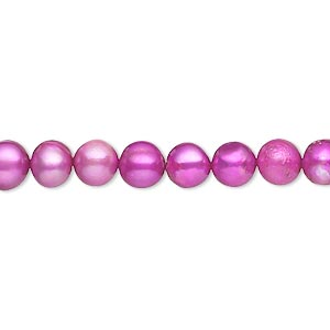 pearl, cultured freshwater (dyed), mountain pink, 5-6mm semi-round, c grade, mohs hardness 2-1/2 to 4. sold per 15-inch strand.