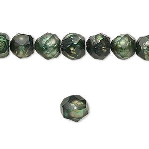 pearl, cultured freshwater (dyed), olive green, 9-10mm faceted semi-round, c- grade, mohs hardness 2-1/2 to 4 sold per 16-inch strand.