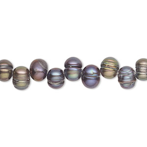 pearl, cultured freshwater (dyed), peacock, 7x6mm-8x6mm top-drilled rice, c grade, mohs hardness 2-1/2 to 4. sold per 16-inch strand.