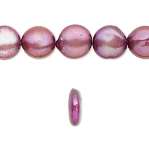 pearl, cultured freshwater (dyed), purple, 10-12mm flat round, c- grade, mohs hardness 2-1/2 to 4. sold per 16-inch strand.