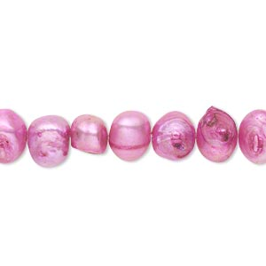 pearl, cultured freshwater (dyed), red grape, 6-8mm flat-sided potato, d grade, mohs hardness 2-1/2 to 4. sold per 16-inch strand.