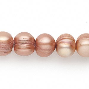 pearl, cultured freshwater (dyed), sienna, 10-11mm semi-round, d- grade, mohs hardness 2-1/2 to 4. sold per 16-inch strand.