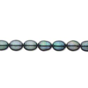 pearl, cultured freshwater (dyed), spruce, 5-6mm rice, c- grade, mohs hardness 2-1/2 to 4. sold per 15-inch strand.