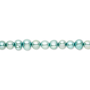 pearl, cultured freshwater (dyed), teal, 4-5mm semi-round, c grade, mohs hardness 2-1/2 to 4. sold per 16-inch strand.