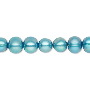 pearl, cultured freshwater (dyed), teal, 7-8mm semi-round, c grade, mohs hardness 2-1/2 to 4. sold per 16-inch strand.