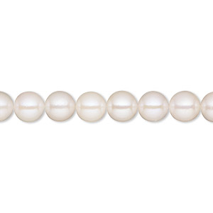pearl, cultured saltwater (bleached), white, 6-6.5mm semi-round, b grade, mohs hardness 2-1/2 to 4. sold per 16-inch strand.