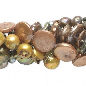 pearl mix, cultured freshwater (bleached / dyed), mixed colors, 7x4mm-32x15mm mixed shape, d- grade, mohs hardness 2-1/2 to 4. sold per pkg of (5) 16-inch strands.