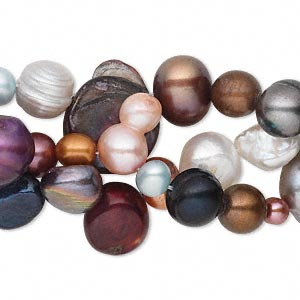 pearl mix, cultured freshwater (bleached / dyed), multicolored, 4mm-14x5mm mixed shape, d grade, mohs hardness 2-1/2 to 4. sold per 48-inch strand.