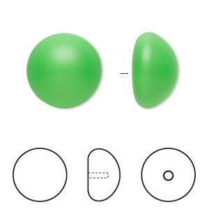 pearl, swarovski crystal cabochon, neon green, 16mm half-drilled round (5817). sold per pkg of 2.