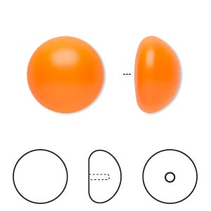 pearl, swarovski crystal cabochon, neon orange, 16mm half-drilled round (5817). sold per pkg of 50.