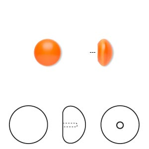 pearl, swarovski crystal cabochon, neon orange, 8mm half-drilled round (5817). sold per pkg of 250.