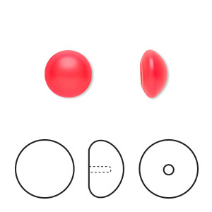 pearl, swarovski crystal cabochon, neon red, 10mm half-drilled round (5817). sold per pkg of 2.