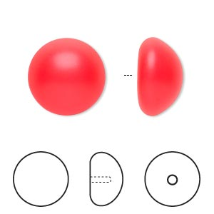pearl, swarovski crystal cabochon, neon red, 16mm half-drilled round (5817). sold per pkg of 2.