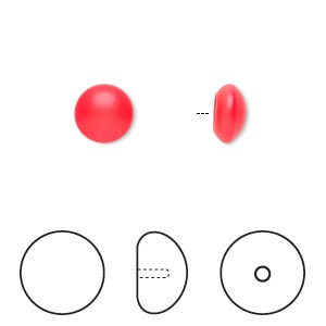 pearl, swarovski crystal cabochon, neon red, 8mm half-drilled round (5817). sold per pkg of 2.
