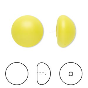 pearl, swarovski crystal cabochon, neon yellow, 16mm half-drilled round (5817). sold per pkg of 50.