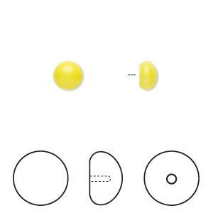 pearl, swarovski crystal cabochon, neon yellow, 6mm half-drilled round (5817). sold per pkg of 250.