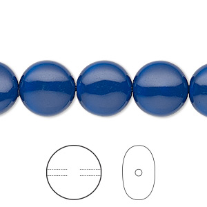 pearl, swarovski crystal gemcolors, dark lapis, 12mm coin (5860). sold per pkg of 10.