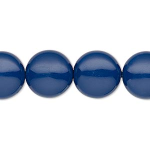 pearl, swarovski crystal gemcolors, dark lapis, 14mm coin (5860). sold per pkg of 50.