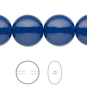 pearl, swarovski crystal gemcolors, dark lapis, 16mm coin (5860). sold per pkg of 5.