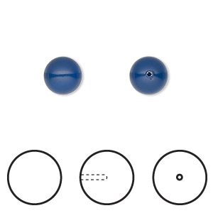 pearl, swarovski crystal gemcolors, dark lapis, 8mm half-drilled round (5818). sold per pkg of 2.