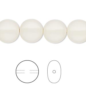 pearl, swarovski crystal gemcolors, ivory, 12mm coin (5860). sold per pkg of 10.