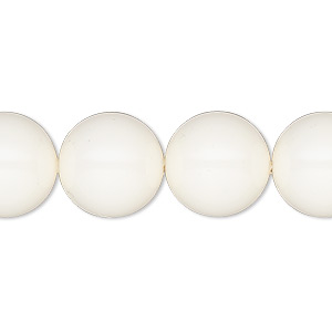 pearl, swarovski crystal gemcolors, ivory, 14mm round with 1.3-1.5mm hole (5811). sold per pkg of 10.