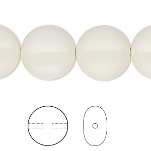 pearl, swarovski crystal gemcolors, ivory, 16mm coin (5860). sold per pkg of 25.