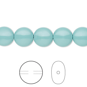 pearl, swarovski crystal gemcolors, jade, 10mm coin (5860). sold per pkg of 100.