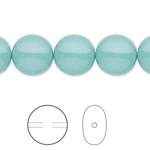pearl, swarovski crystal gemcolors, jade, 12mm coin (5860). sold per pkg of 100.