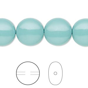 pearl, swarovski crystal gemcolors, jade, 14mm coin (5860). sold per pkg of 10.