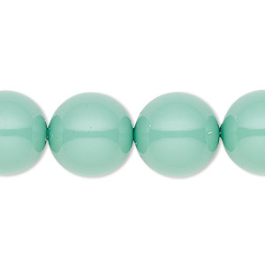 pearl, swarovski crystal gemcolors, jade, 14mm round with 1.3-1.5mm hole (5811). sold per pkg of 10.