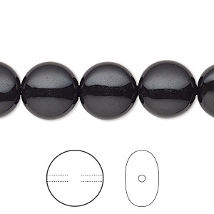 pearl, swarovski crystal gemcolors, mystic black, 12mm coin (5860). sold per pkg of 10.