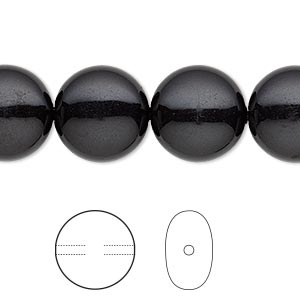 pearl, swarovski crystal gemcolors, mystic black, 14mm coin (5860). sold per pkg of 50.