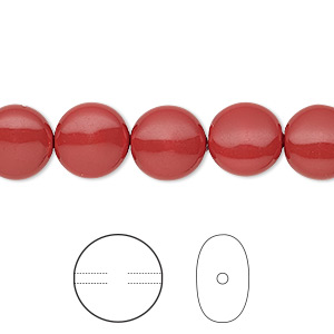 pearl, swarovski crystal gemcolors, red coral, 10mm coin (5860). sold per pkg of 10.