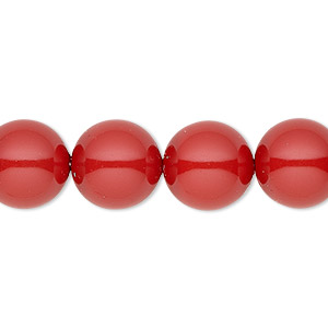pearl, swarovski crystal gemcolors, red coral, 12mm round with 1.3-1.5mm hole (5811). sold per pkg of 100.