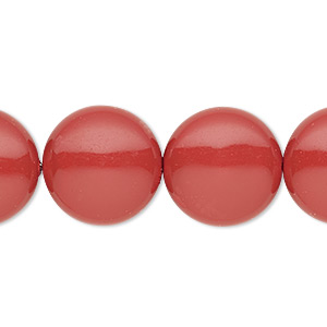 pearl, swarovski crystal gemcolors, red coral, 16mm coin (5860). sold per pkg of 5.