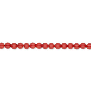 pearl, swarovski crystal gemcolors, red coral, 3mm round (5810). sold per pkg of 100.