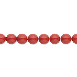 pearl, swarovski crystal gemcolors, red coral, 6mm round (5810). sold per pkg of 50.