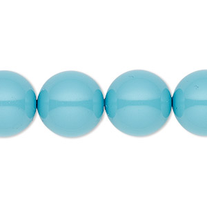 pearl, swarovski crystal gemcolors, turquoise, 14mm round with 1.3-1.5mm hole (5811). sold per pkg of 10.